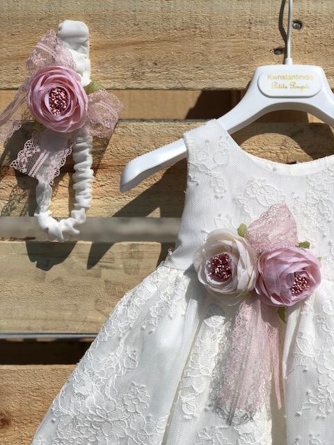 755c75c5823 Βαπτιστικά ρούχα για κορίτσι,φόρεμα με ουρά δαντέλα και λουλούδια