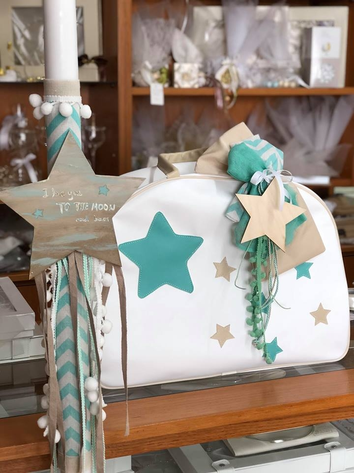 2f5dbe7cdc Τσάντα βάπτισης για αγόρι με θέμα το αστέρι μέντα μπεζ χρώματα