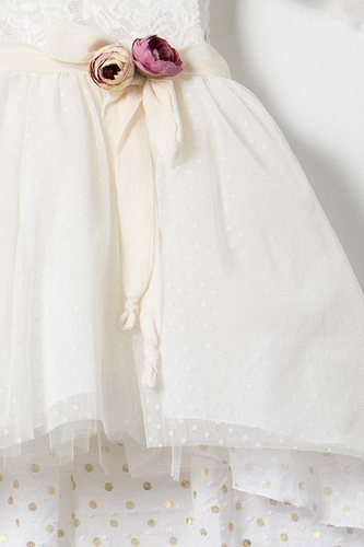 Βαπτιστικό φόρεμα δαντέλα ιβουάρ σάπιο μήλο λουλούδια Bambolino