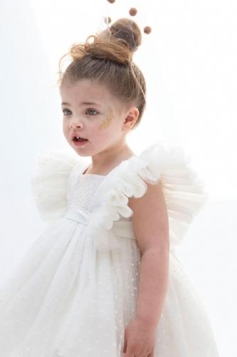 βαπτιστικά ρούχα για κορίτσι με ουρά και μανικάκι