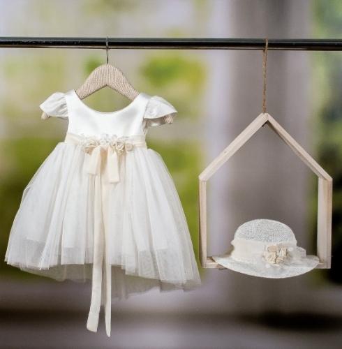 Βαπτιστικό φόρεμα για κορίτσι με ουρά εκρού τούλι