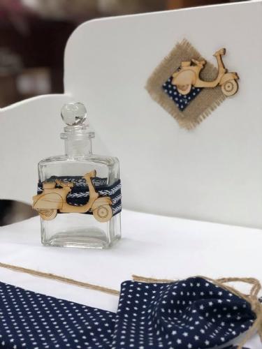 παγκάκι θρανίο βάπτισης με βέσπα μπλε πουά άσπρο τσουβάλι