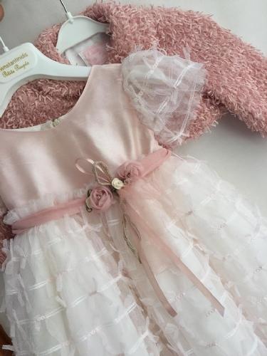 Ροζ φόρεμα βαπτιστικό και μπολερό σάπιο μήλο