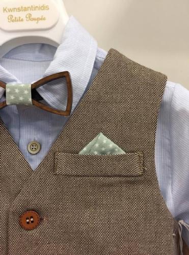 βαπτιστικό ρούχο για αγόρι με ξύλινο παπιγιόν μέντα πράσινο