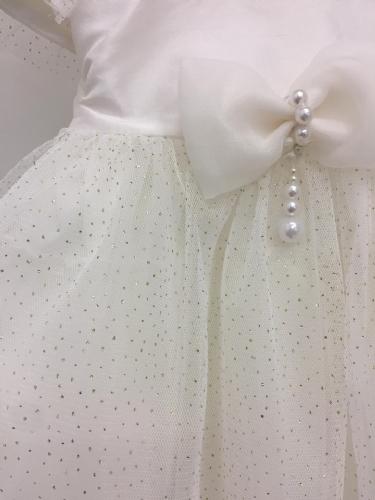 Βαπτιστικό φόρεμα με φιογκάκι και πέρλες