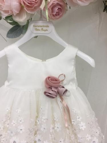 βαπτιστικό φόρεμα ιβουάρ με λουλούδια στη φούστα