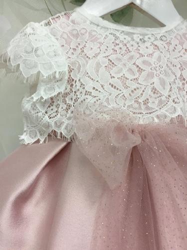 Βαπτιστικό φόρεμα ροζ σάπιο μήλο με δαντελένιο μπλουζάκι και τούλινη ζώνη