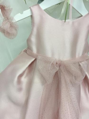 Βαπτιστικό φόρεμα σάπιο μήλο με κουφωτές και τούλινη ζώνη
