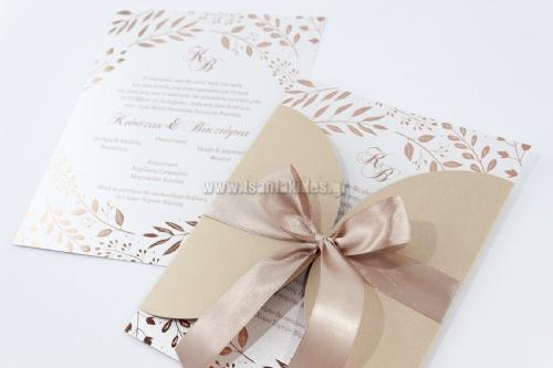 προσκλητήρια γάμου με ανοιχτό φάκελο ροζ χρυσό