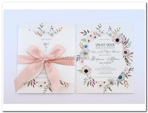 προσκλητήριο γάμου ρομαντικό με ανοιχτό φάκελο σαν παράθυρο