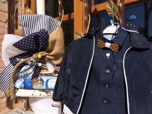 Βαπτιστικό αγορίστικο ρούχο με μπουφάν και ξύλινο παπιγιόν θέμα την βέσπα