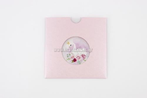 Προσκλητήριο βάπτισης με ροζ κύκνο με κορώνα σε ροζ φάκελο με άνοιγμα