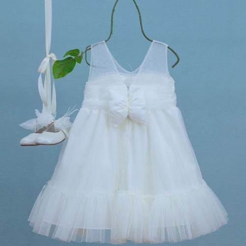 βαπτιστικό φόρεμα εκρού τούλι σούρα διαφάνεια λουλούδι