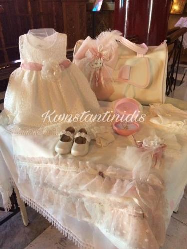 Πακέτο βάπτισης για κορίτσι ροζ ρομαντικό vintage με μαλακή τσάντα