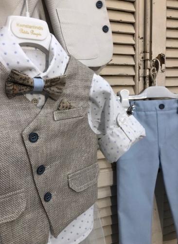 Βαπτιστικά ρούχα για αγόρι,γιλέκο μπεζ ψάθα με παπιγιόν χάρτη ύφασμα