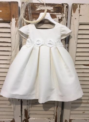 Βαπτιστικό φόρεμα απο ύφασμα μπροκάρ με λουλούδια