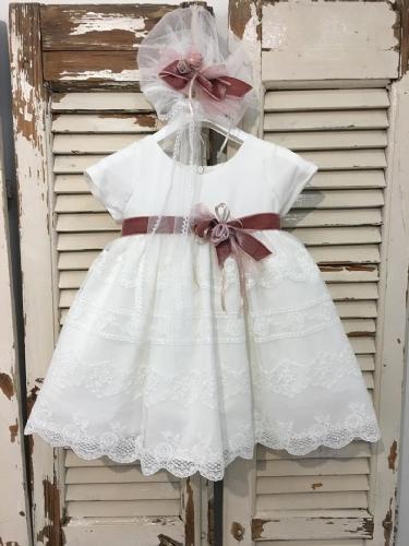 Βαπτιστικό φόρεμα με δαντέλα και βελούδινη σάπιο μήλο ζώνη βελούρ