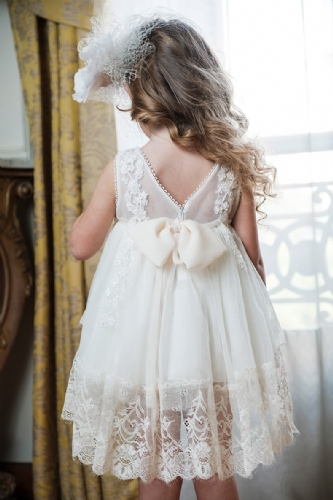 ρούχα βάπτισης για κορίτσι φόρεμα με άνοιγμα στη πλάτη με διαφάνεια