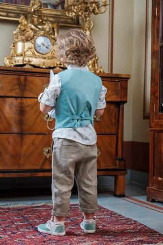 βαπτιστικά ρούχα για αγόρι μέντα μπεζ ζωγαφισμένο καβουράκι καπέλο με φτερό ινδιάνος