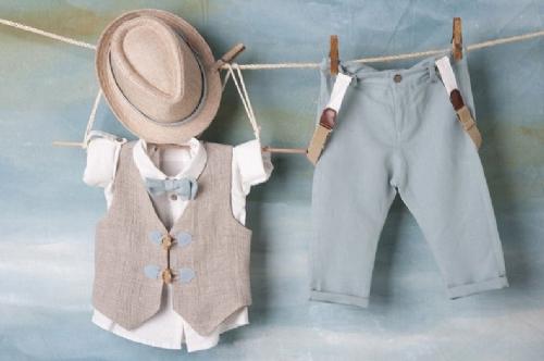 βαπτιστικά ρούχα για αγόρι μέντα μπεζ καλοκαιρινά με βερμούδα