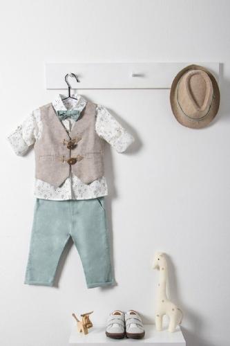 βαπτιστικό ρούχο για αγόρι μέντα μπεζ με πουκάμισο με αερόστατα μέντα