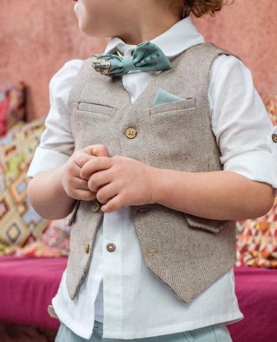 βαπτιστικά ρούχα για αγόρι θέμα χάρτης ταξίδι μέντα μπεζ