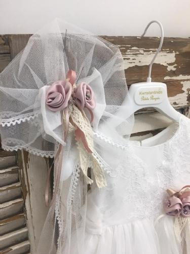 Φόρεμα βαπτιστικό με μπαντάνα και ουρά