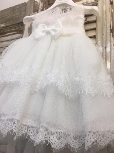 βαπτιστικό φόρεμα με ουρά δαντέλα και πουά διαφάνεια