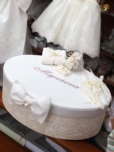 καπελιέρα δαντέλα για κορίτσι βαπτιστικό κουτί με όνομα του μωρού