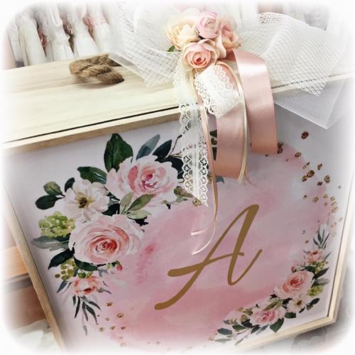 ρομαντικό κουτί βάπτισης ξύλινο για κορίτσι χρήσιμο πρωτότυπο ροζ λουλούδια