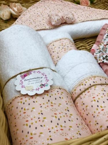 σετ πετσέτες για μωρό σωμόν λουλούδια σάπιο μήλο