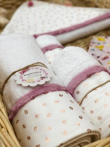 σετ πετσέτες για το μπάνιο για μωρό,σάπιο μήλο φλοράλ για κορίτσι