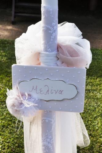 Λαμπάδα βάπτισης για κορίτσι με όνομα ρομαντική πουά σάπιο μήλο