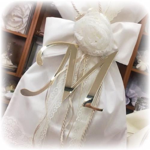 Λαμπάδα βάπτισης για κορίτσι φιόγκος λουλούδι χειροποίητο plexiglass