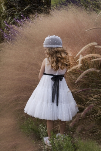 βαπτιστικό φόρεμα για κορίτσι πουά με μπαντάνα